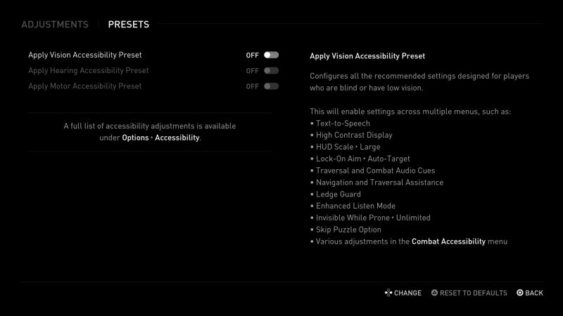 Vision Accessibility Preset.