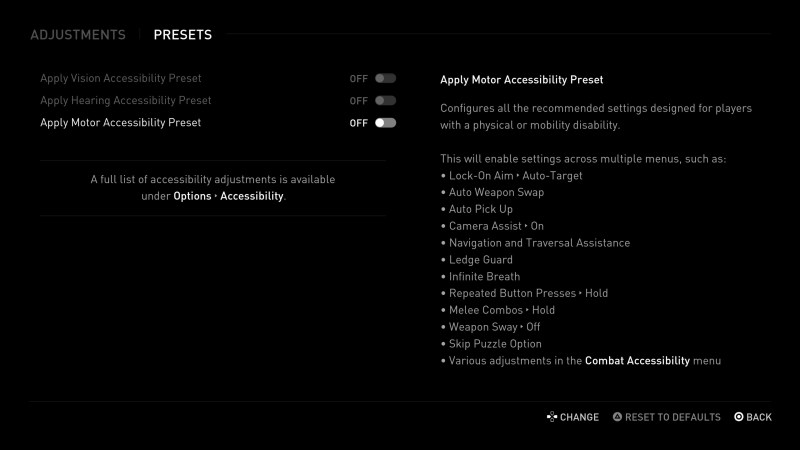 Motor accessibility presets.