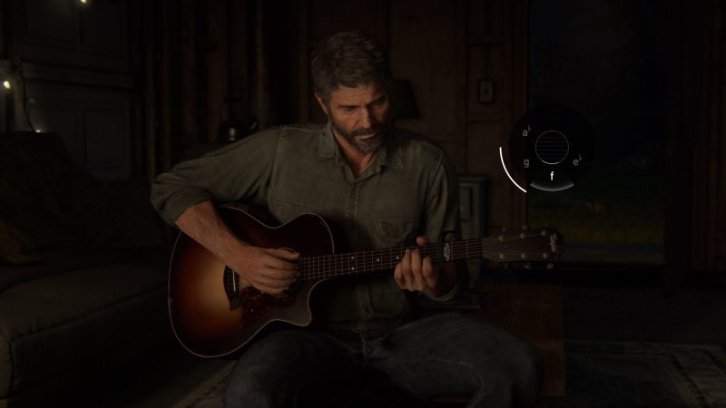 Joel playing the guitar showing the minigame on the right of the screen.