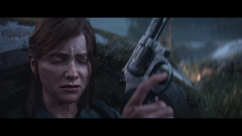 The Last of Us 2 Ellie holding a gun with her eyes closed, waiting