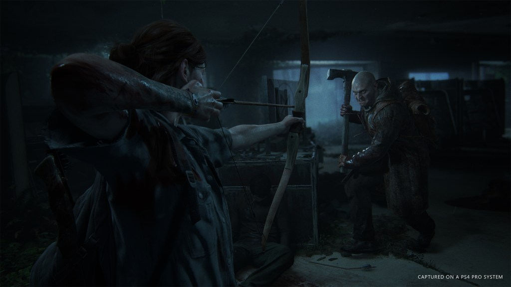 The Last of Us 2 Trailer screenshot Ellie shooting an arrow at an enemy