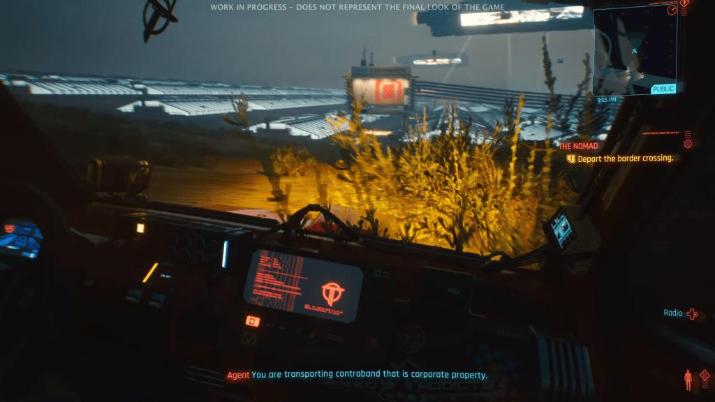 Cyberpunk 2077 car driving first person