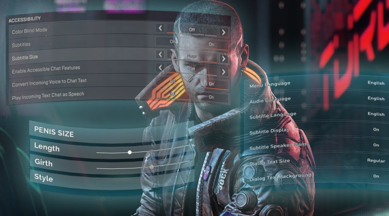 Accessibility Marketing in games featured image: Male V from Cyberpunk stands surrounding by accessibility menus and one menu showing some penis adjustment sliders.