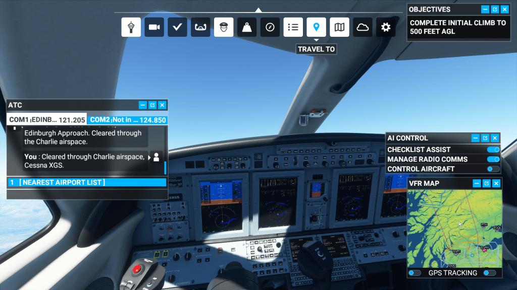 Cockpit view with transcript, map, co-pilot options, and the quick menu