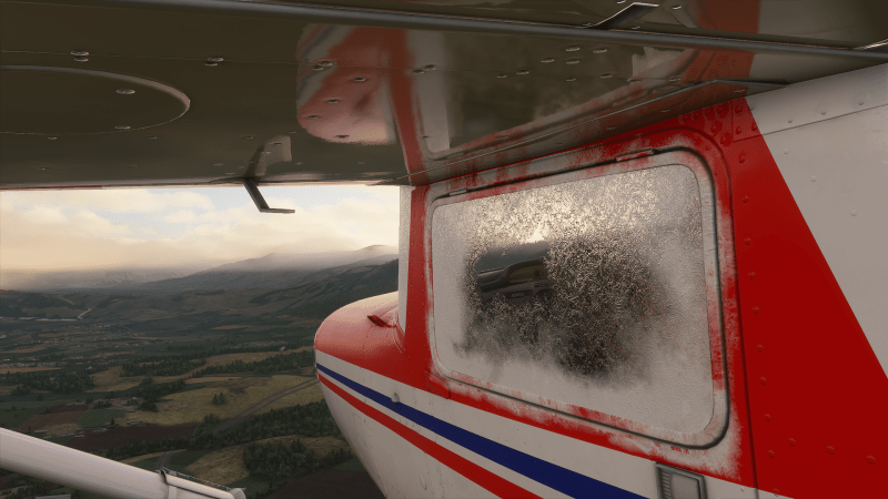 Plane with ice forming on the windows