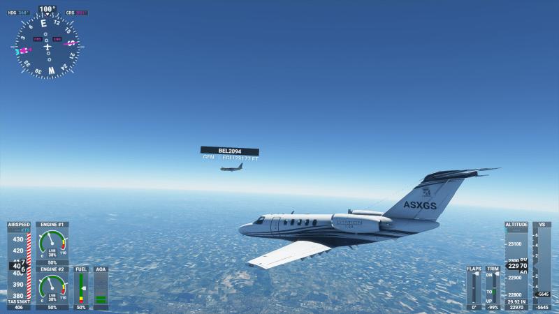 Microsoft Flight Simulator third-person flight with UI elements