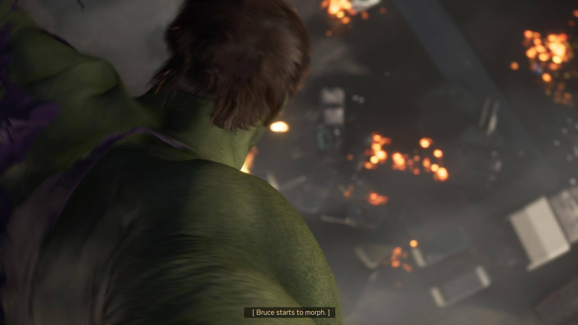 Hulk morphing, illustrating the game's closed captions.