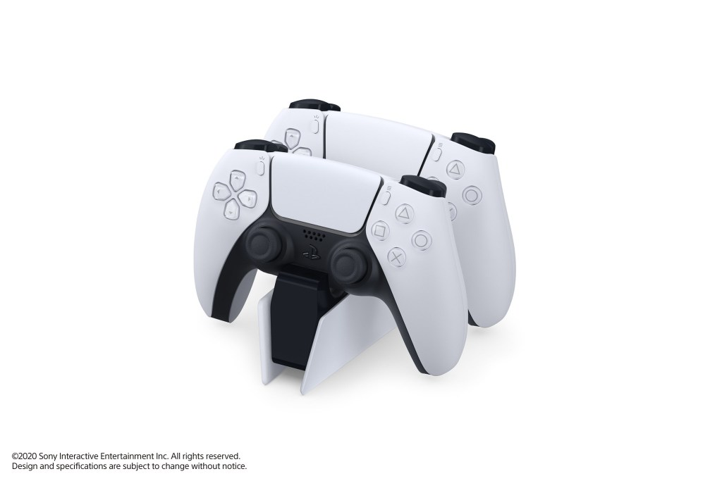 2 PS5 DualSense Controller in white on a stand