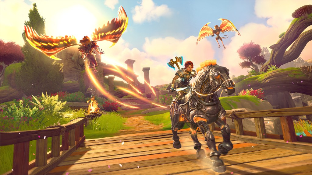 Immortals Fenyx Rising riding away from flying enemies on horseback