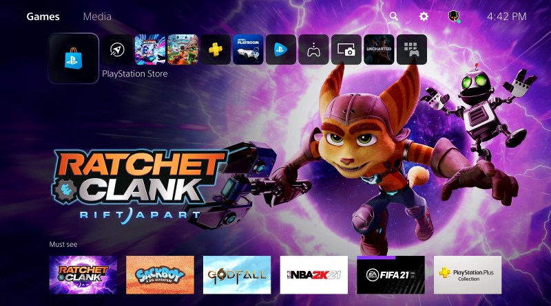 PS5 UX Home Screen
