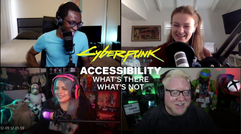 Screenshot of a Discord call with Blessing Adeoye Jr. from Kinda Funny in the top left, Kallie Plaggie from Gamespot on the top right, Liana Ruppert from Game Informer on the bottom left and Steve Saylor on the bottom right. Text is overlayed in the center saying Cyberpunk 2077: What's there and what's not.