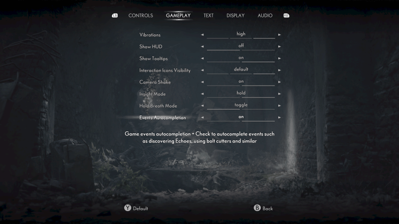 The gameplay options with a few toggles for holding your breath and insight.