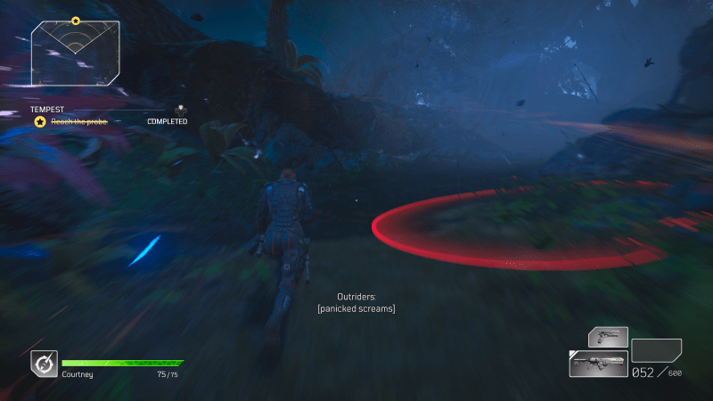 Illustrating the red ring indicating a nearby explosive.