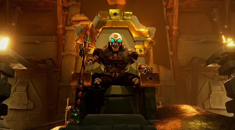 sea of thieves accessibility - skeleton with glowing eyes sits on a throne of gold