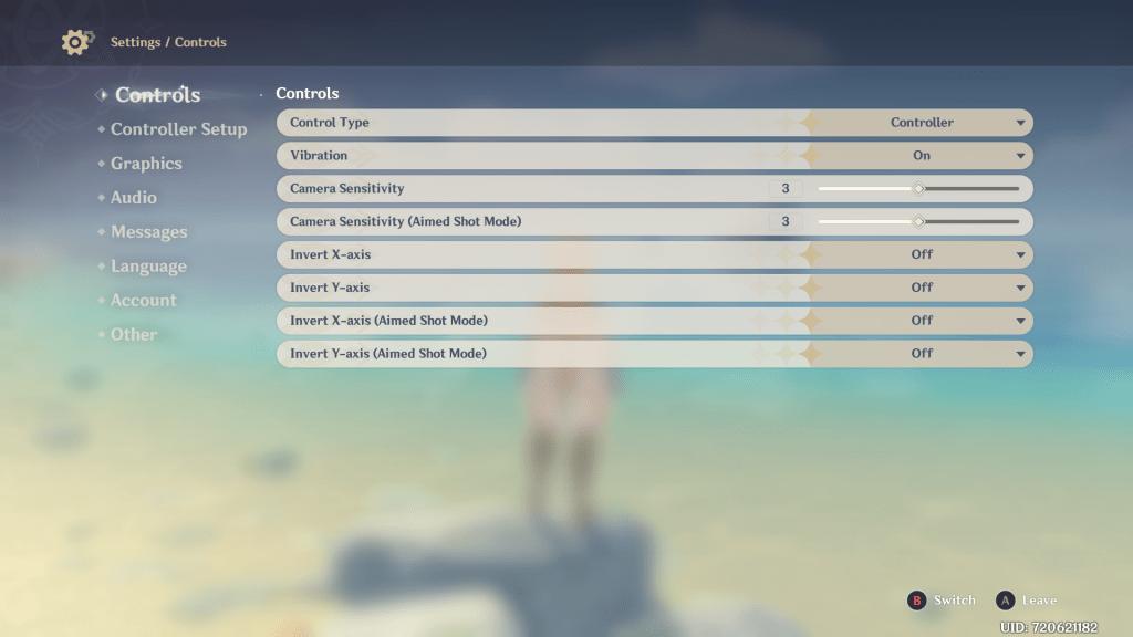 Genshin Impact controller options menu