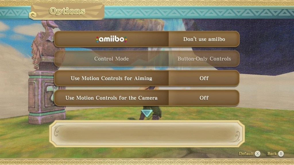 Page two of the options menu.