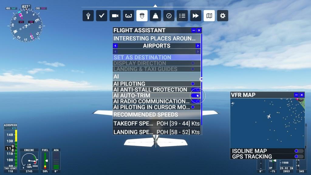 Microsoft Flight Simulator HUD and autopilot