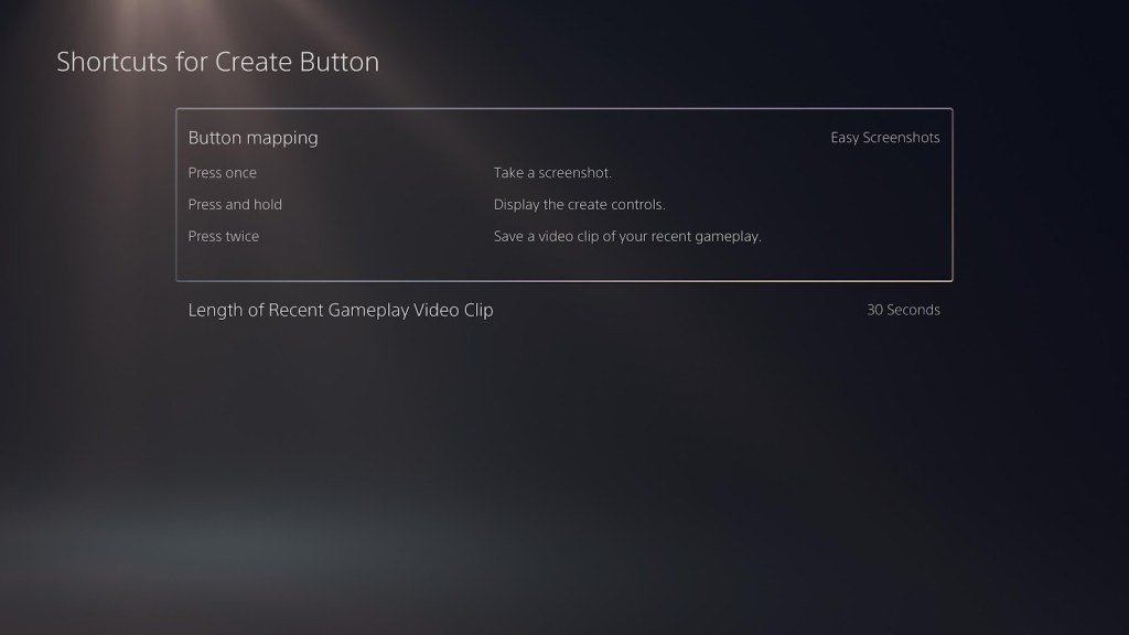 The shortcuts for create button settings.
