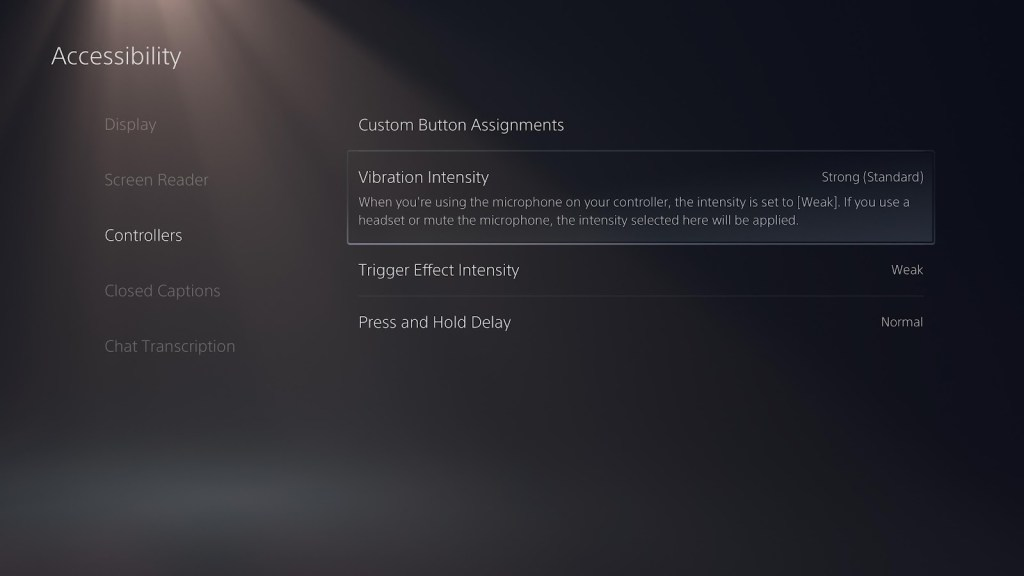 The controllers section of the accessibility menu.