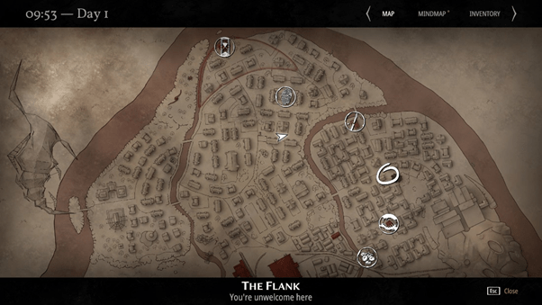 The map from Pathologic 2. The current area is 'The Flank', and it is captioned 'You're unwelcome here'.