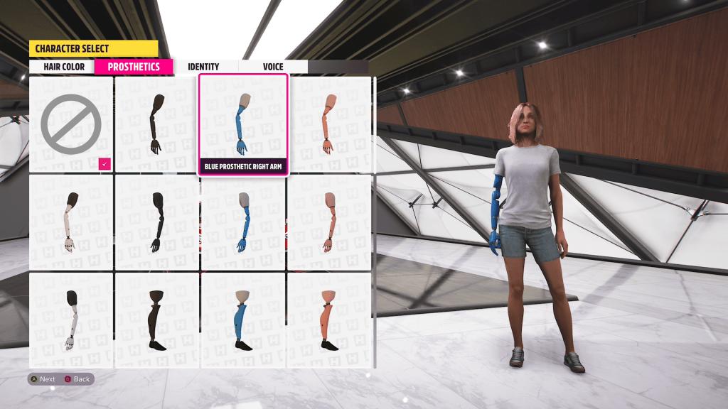 Forza Horizon 5 character creator showing prosthetic limbs
