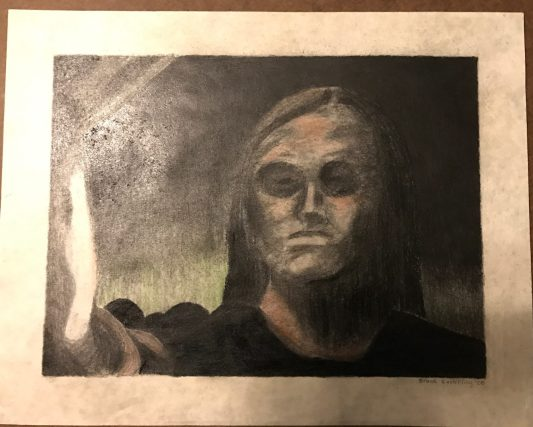 """""""Fear"""" Charcoal and colored pencil mixed media drawing, 2000"""