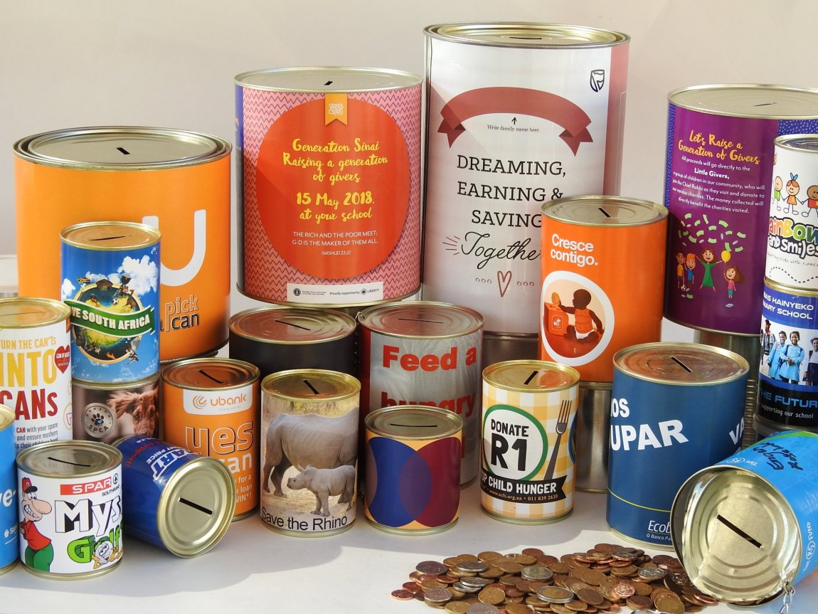 Tin Cans with slots for coins