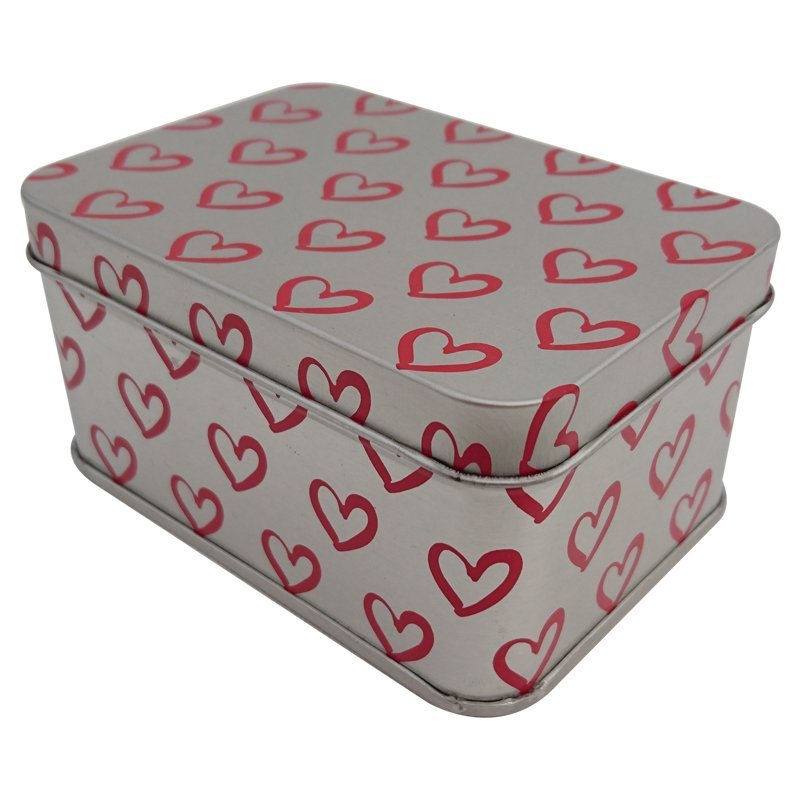Cr16 100x71x50 - Heart Printed Custom Rectangular Tin Box
