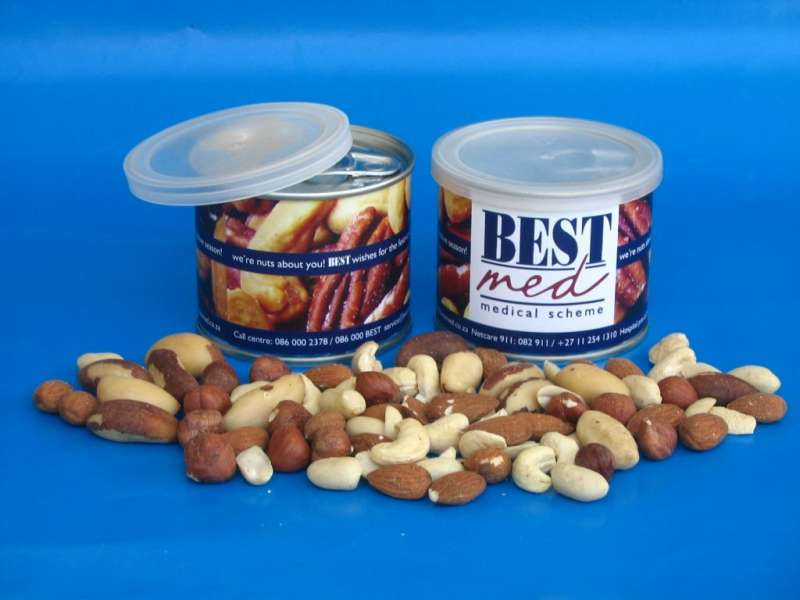 Nuts in a Sealed Tin Can branded with a full colour label