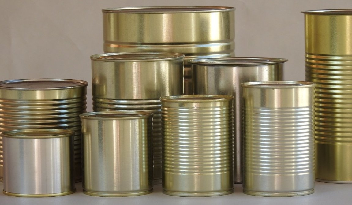 Groupshot of metal food tin cans