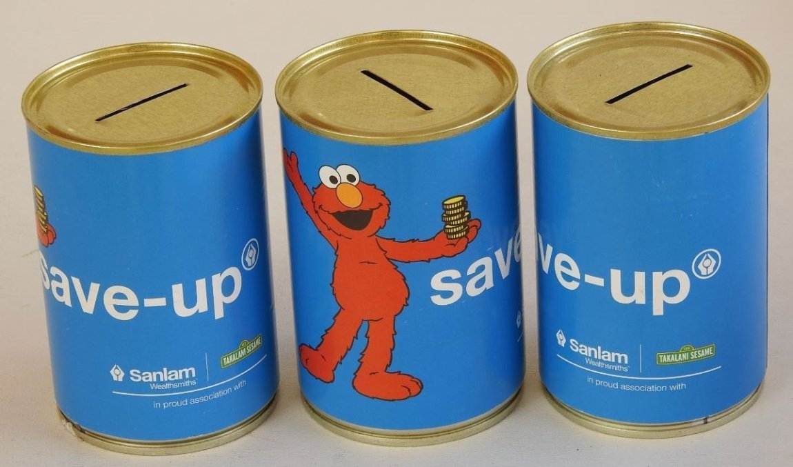 Sanlam Takalani Branded Donation Tin Can with Slot