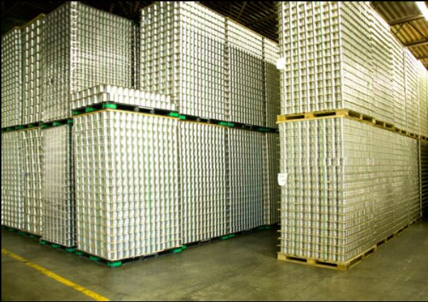 Ribbed Food Tins, Pallets Stacked in CanIt's warehouse