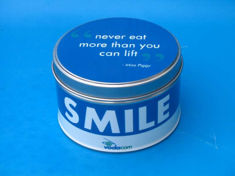 Round Metal Tin - 99mm Diameter x 50mm High with custom branding from Can It
