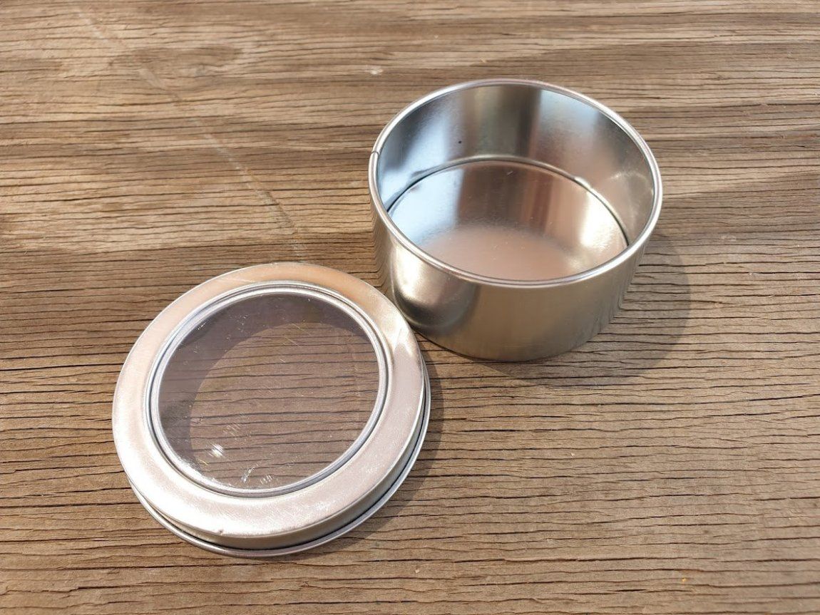 Silver Round Window Tins
