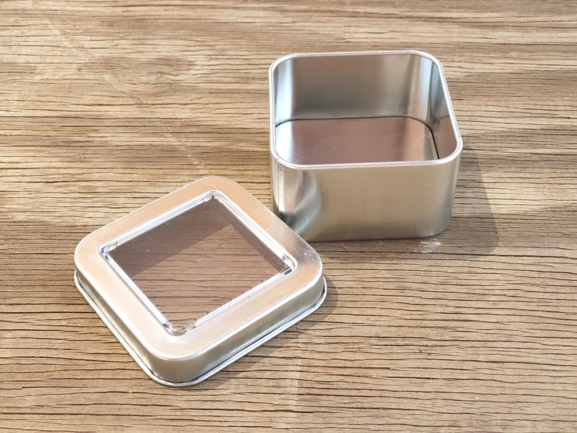 Silver Square Window Tins