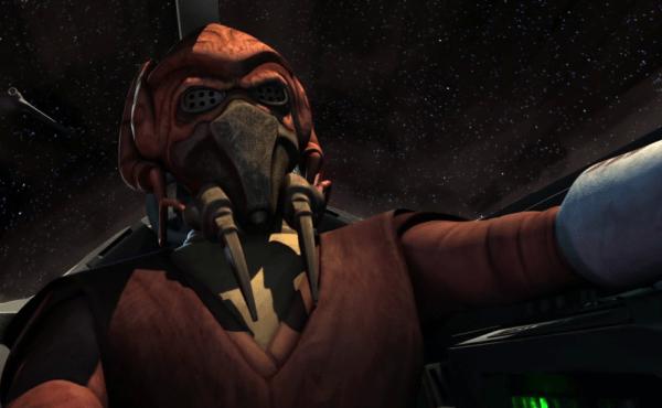 Star Wars Plo Koon pilotando su caza en Clone Wars