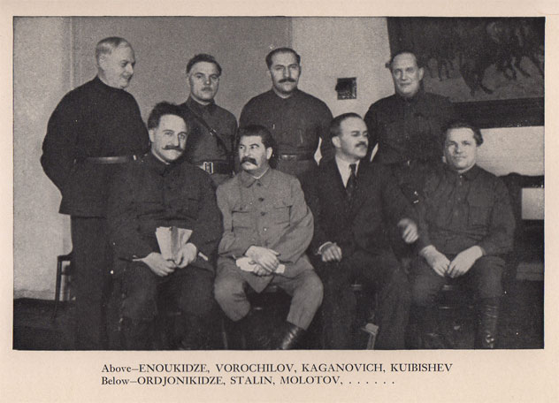 Representación del politburó en 1934 incluyendo a Kirov