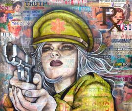 Aubrey Rhodes [Melbourne, Australia] The Avon Lady 2014 Acrylic, Charcoal & Collage on Canvas 26 x 30 inches