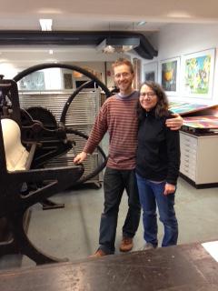 Grafikwerkstatt lithographer Peter Stephan with Ohio artist Ellen Price. Photo courtesy of Ellen Price.