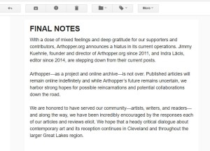 Arthopper.org's announcement, grabbed from the screen.