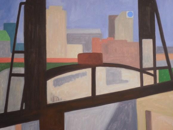 "Howard Collier, ""Train Bridge Flats."" Oil on canvas."