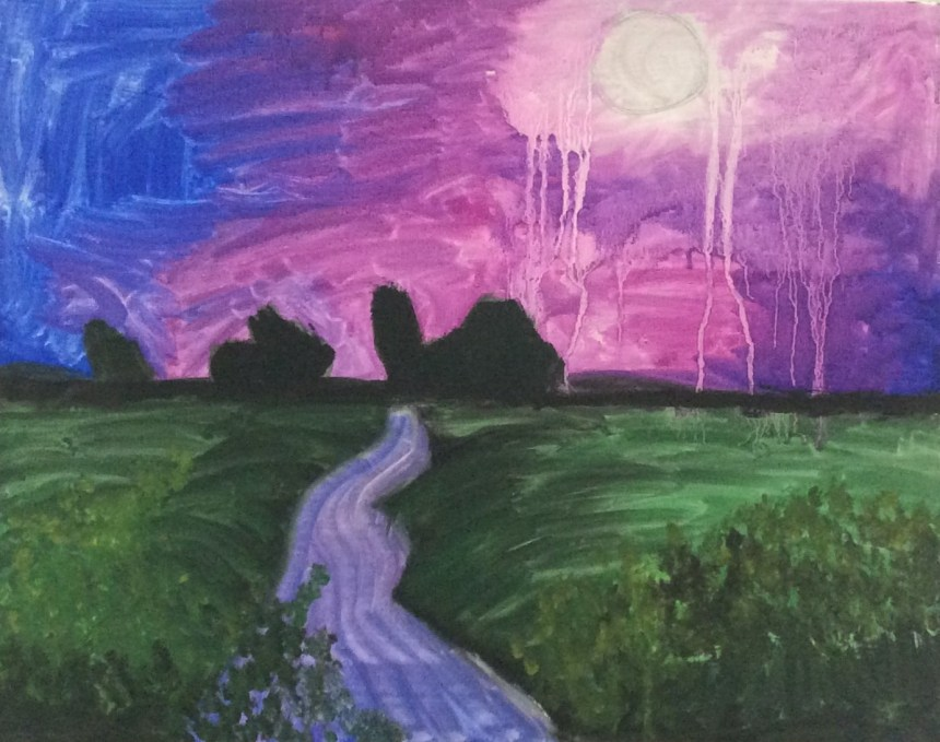Sun Down, by Shardae. Artist Shardae participates in our Discover the Artist Within You program at MetroHealth. Her work will be on display at our MetroHealth show, 50 Years of Making Art with Meaning.