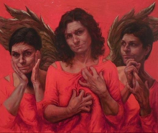 "Judy Takacs, ""Guardian Angel of the Good Death,"" oil on linen."
