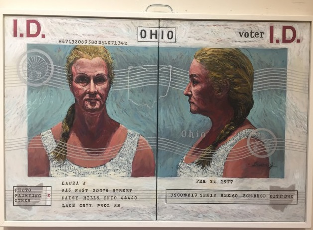 """Lawrence Krause, """"Mandatory Voter I.D.: Laura,"""" acrylic on canvas."""