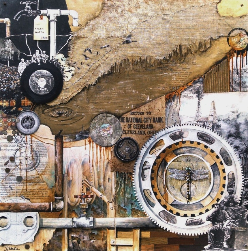 """Rust Belt Resurrection,"" by Debra Sue Solecki. Mixed media collage."