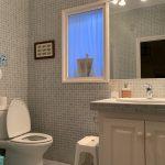 salle de bain avec douche et wc incorporé