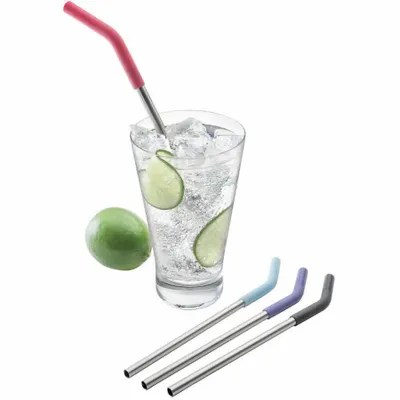 Reusable straws and water bottles at Canmore Home Hardware.