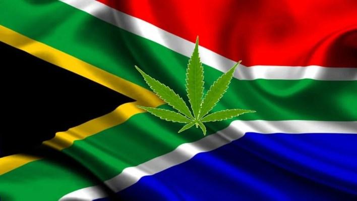 drapeau afrique du sud et cannabis au milieu