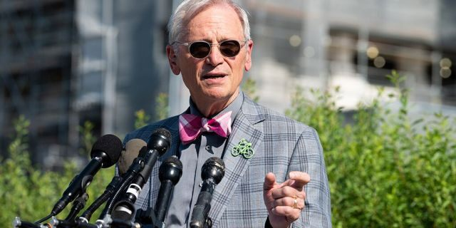 U.S. Representative Earl Blumenauer (D-OR) speaks at a press conference during the introduction of the Zero Waste Act in Congress at the Capitol in Washington, DC. An amendment by Blumenauer to keep the DOJ from interfering in state marijuana programs was approved by the House Thursday. (Photo by Michael Brochstein/SOPA Images/LightRocket via Getty Images)