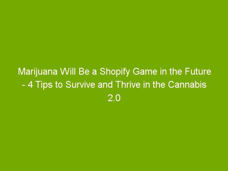 Marijuana Will Be a Shopify Game in the Future – 4 Tips to Survive and Thrive in the Cannabis 2.0 World